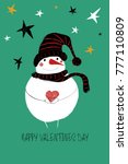 love greeting card with cute...   Shutterstock .eps vector #777110809