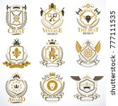 heraldic vector signs decorated ... | Shutterstock .eps vector #777111535