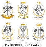 vintage weapon emblems set.... | Shutterstock .eps vector #777111589