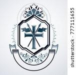 heraldic signs vector vintage... | Shutterstock .eps vector #777111655