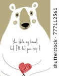 love greeting card with cute...   Shutterstock .eps vector #777112561