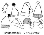 winter clothes. santa stocking... | Shutterstock .eps vector #777113959
