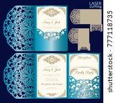 die laser cut wedding card...   Shutterstock .eps vector #777118735