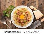 carbonara spaghetti on wood... | Shutterstock . vector #777122914