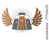 ancient fortress emblem.... | Shutterstock .eps vector #777126151