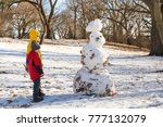 children and snowman in the... | Shutterstock . vector #777132079