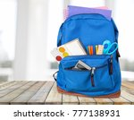 backpack with school supplies | Shutterstock . vector #777138931
