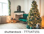 christmas living room with a... | Shutterstock . vector #777147151