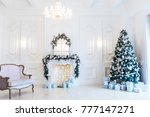 christmas living room with a... | Shutterstock . vector #777147271