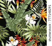 tropical jungle vector flowers... | Shutterstock .eps vector #777148291