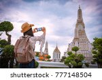 asian woman tourists are taking ... | Shutterstock . vector #777148504