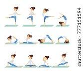 woman doing yoga. set of poses...   Shutterstock .eps vector #777151594