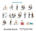 businessman daily routine.... | Shutterstock .eps vector #777151744