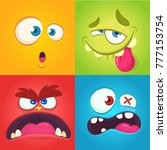cartoon monster faces set.... | Shutterstock .eps vector #777153754