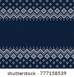 winter christmas x mas knitted... | Shutterstock . vector #777158539