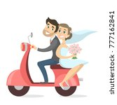 just married couple riding... | Shutterstock .eps vector #777162841