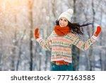 winter young woman portrait.... | Shutterstock . vector #777163585