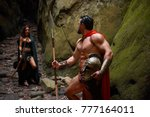 muscular spartan warrior with... | Shutterstock . vector #777164011