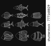 set of vector stylized fishes.... | Shutterstock .eps vector #777168829