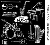 hand drawn sketch style musical ... | Shutterstock .eps vector #777174517