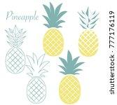 set of different pineapples.... | Shutterstock . vector #777176119