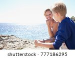 mother and son bonding together ... | Shutterstock . vector #777186295