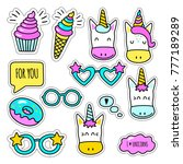 set of colored unicorn stickers ... | Shutterstock .eps vector #777189289
