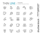 collection of hygiene thin line ... | Shutterstock .eps vector #777189337