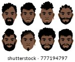 set of black men's faces with... | Shutterstock .eps vector #777194797