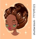 hairstyle of whipped cream.... | Shutterstock .eps vector #777195121