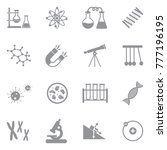 science icons. gray flat design.... | Shutterstock .eps vector #777196195