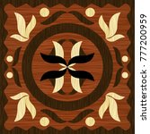 wooden art inlay tile ... | Shutterstock .eps vector #777200959