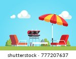 barbecue grilling meat outdoors ... | Shutterstock .eps vector #777207637