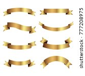 set of golden ribbons vector. | Shutterstock .eps vector #777208975