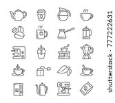 coffee and tea  thin vector... | Shutterstock .eps vector #777222631