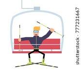 a skier rides a ski lift.... | Shutterstock .eps vector #777231667