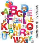 Stock vector the complete childrens english alphabet spelt out with different fun cartoon animals and toys 77723305
