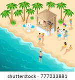 isometric sea beach with a... | Shutterstock .eps vector #777233881