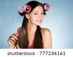 happy smiling girl doing... | Shutterstock . vector #777236161