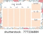weekly planner with pink and... | Shutterstock .eps vector #777236884
