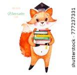 cute little fox holding a pile... | Shutterstock . vector #777237331