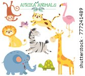 set with cute afrikan animals.... | Shutterstock .eps vector #777241489