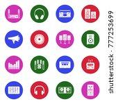 stereo icons. white flat design ... | Shutterstock .eps vector #777253699