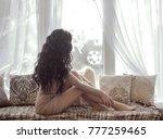 beautiful sensual brunette...   Shutterstock . vector #777259465