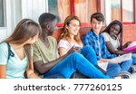 group of mixed races teenagers... | Shutterstock . vector #777260125