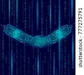 handshake low poly. blockchain... | Shutterstock .eps vector #777275791