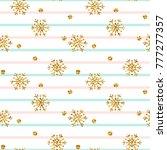 christmas gold snowflake...   Shutterstock . vector #777277357