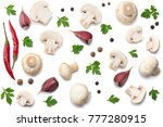 mushrooms with parsley isolated ... | Shutterstock . vector #777280915