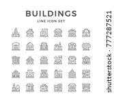 set line icons of buildings... | Shutterstock . vector #777287521