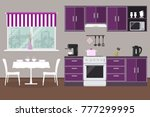 kitchen in a purple color.... | Shutterstock .eps vector #777299995
